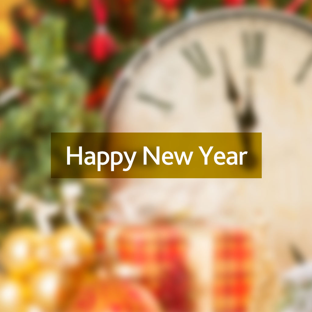 Happy New Year message on a blurred New Year background with a clock